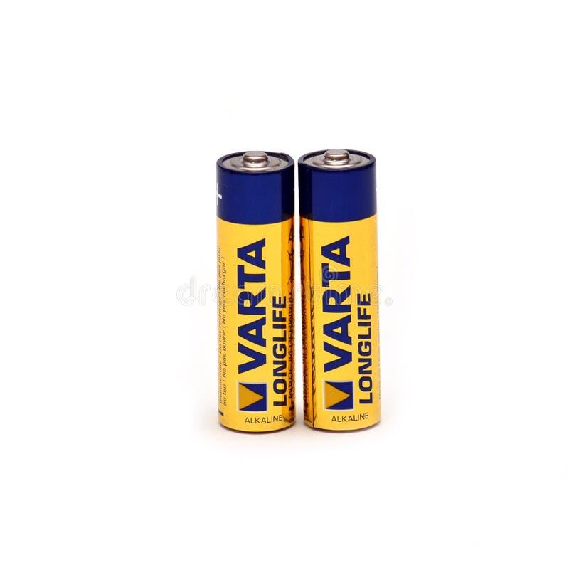 碱性电池Varta 免版税库存照片