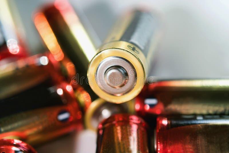 碱性AA电池能量选择聚焦  库存图片