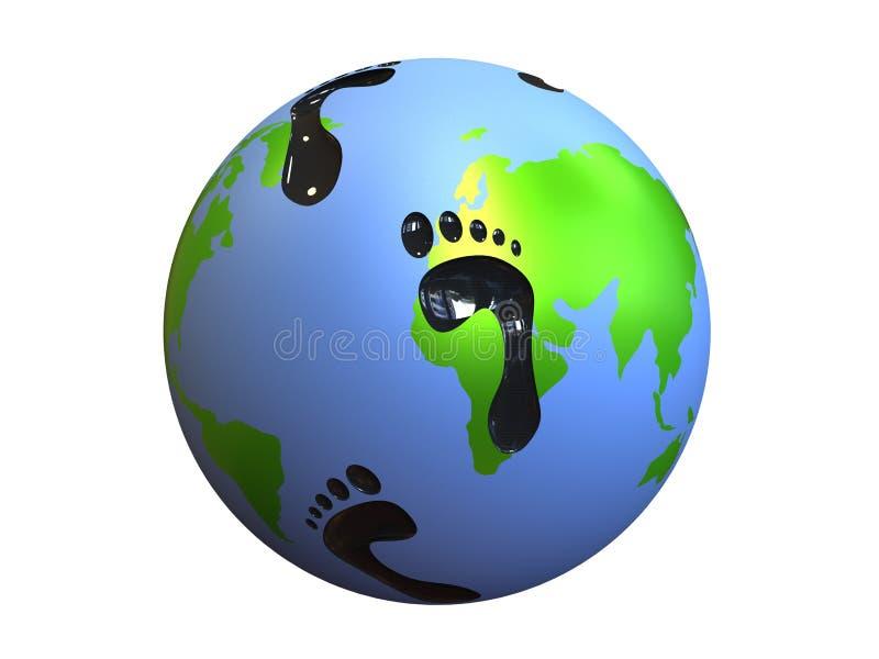 碳地球脚印 向量例证