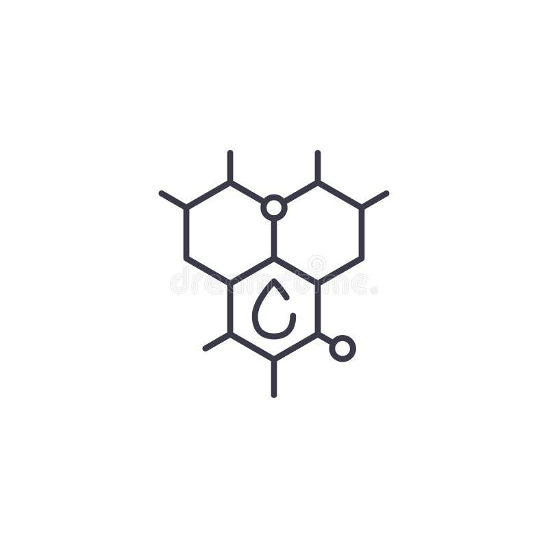 碳氢化合物` s molecula线性象概念 碳氢化合物` s molecula线传染媒介标志,标志,例证 向量例证