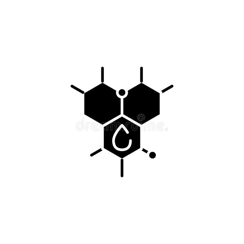 碳氢化合物` s molecula黑色象概念 碳氢化合物` s molecula平的传染媒介标志,标志,例证 向量例证
