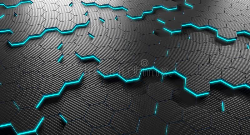 碳纤维六角形 皇族释放例证