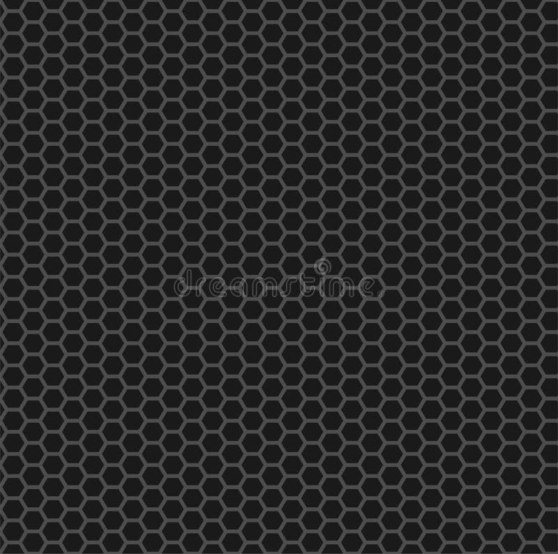 碳纤维栅格纹理 灰色无缝的传染媒介滤网样式 重复在黑背景的产业灰色六角形形状 皇族释放例证