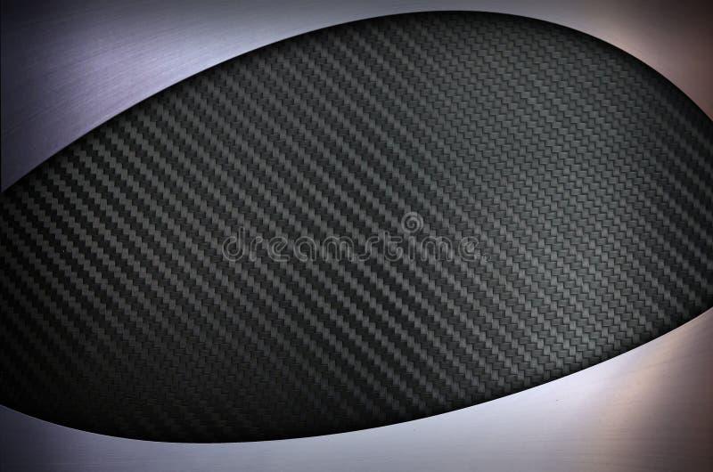 碳纤维有不锈钢金属纹理背景 免版税库存图片