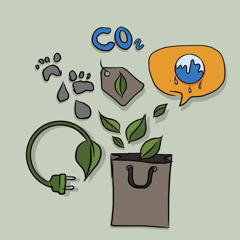 碳脚印刷品解决与负责任的eco友好的购物的全球性变暖问题和减少电子力量 皇族释放例证