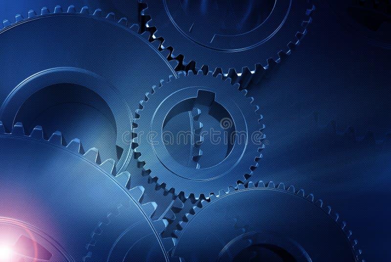 碳蓝色齿轮 向量例证