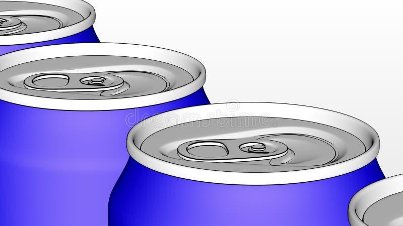 碳酸化合的软饮料或啤酒生产线 在工业传动机的蓝色铝罐 回收生态包装 库存例证