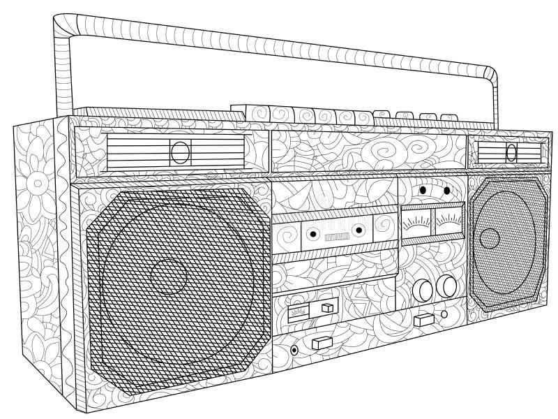 磁带机或磁带录音机antistress着色电子设备 卡式磁带的录音机 光栅 皇族释放例证