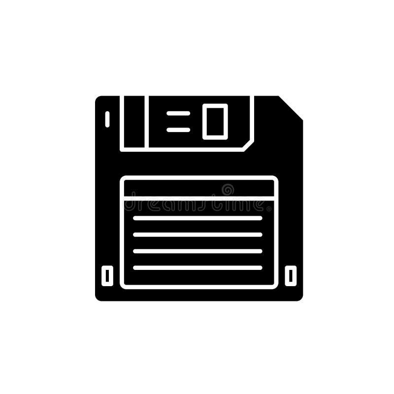磁盘黑色象,在被隔绝的背景的传染媒介标志 磁盘概念标志,例证 皇族释放例证