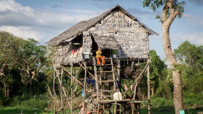 磅士卑Khleang渔夫村庄Tonle Sap湖的,柬埔寨 免版税库存照片