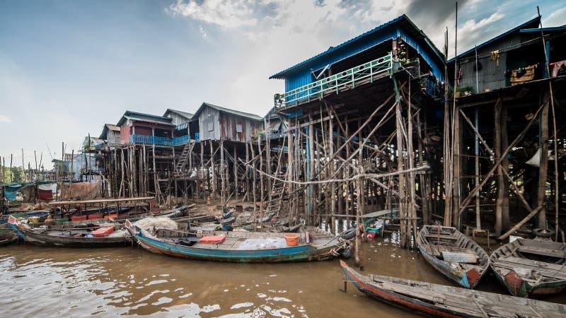 磅士卑Khleang渔夫村庄Tonle Sap湖的,柬埔寨 图库摄影
