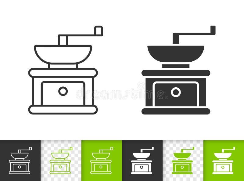 磨咖啡器简单的黑线传染媒介象 库存例证