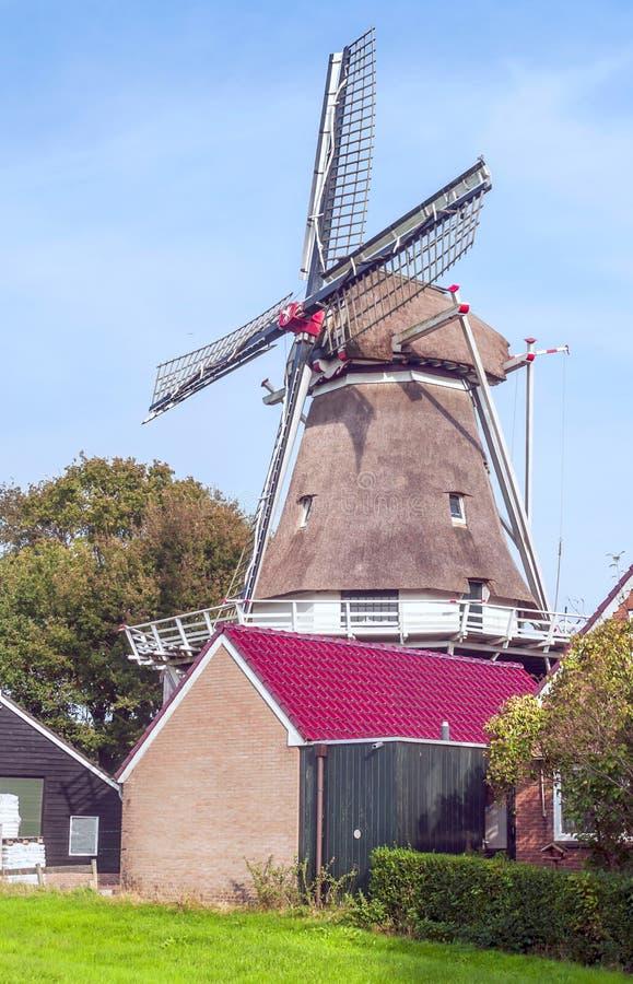 磨房刀片在一个村庄在荷兰 免版税库存照片