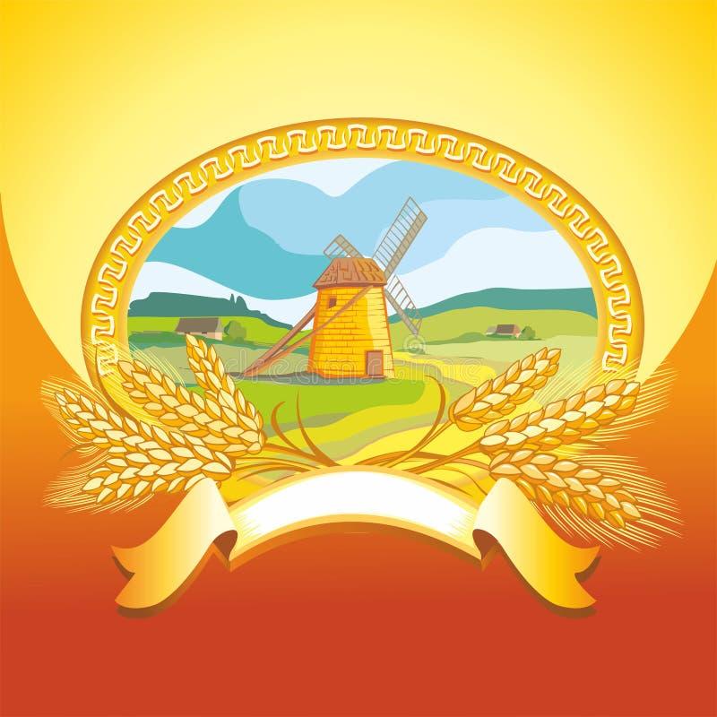 磨房和麦子 免版税图库摄影
