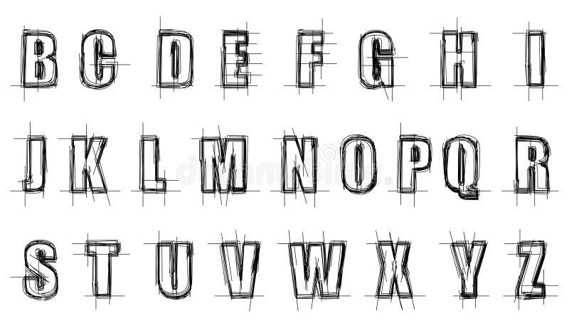 磨擦的字母表 向量例证