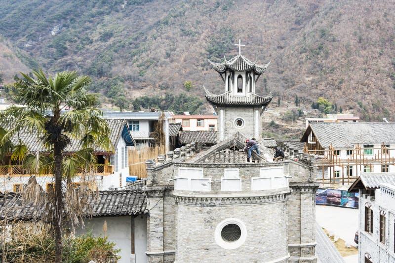 磨溪天主教会的维护 图库摄影