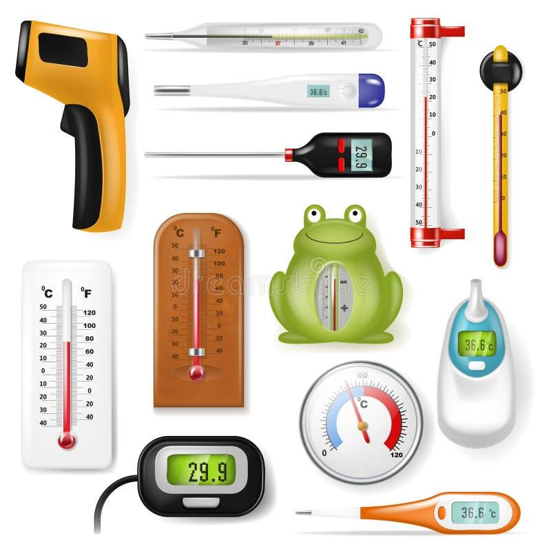 磨炼测量摄氏华氏温标冷的热的程度天气例证套的温度计传染媒介 向量例证