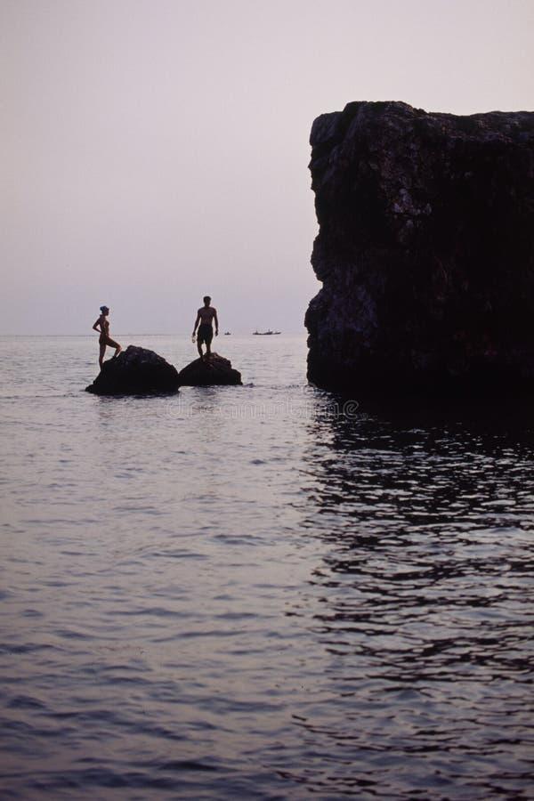 礁石休息 图库摄影