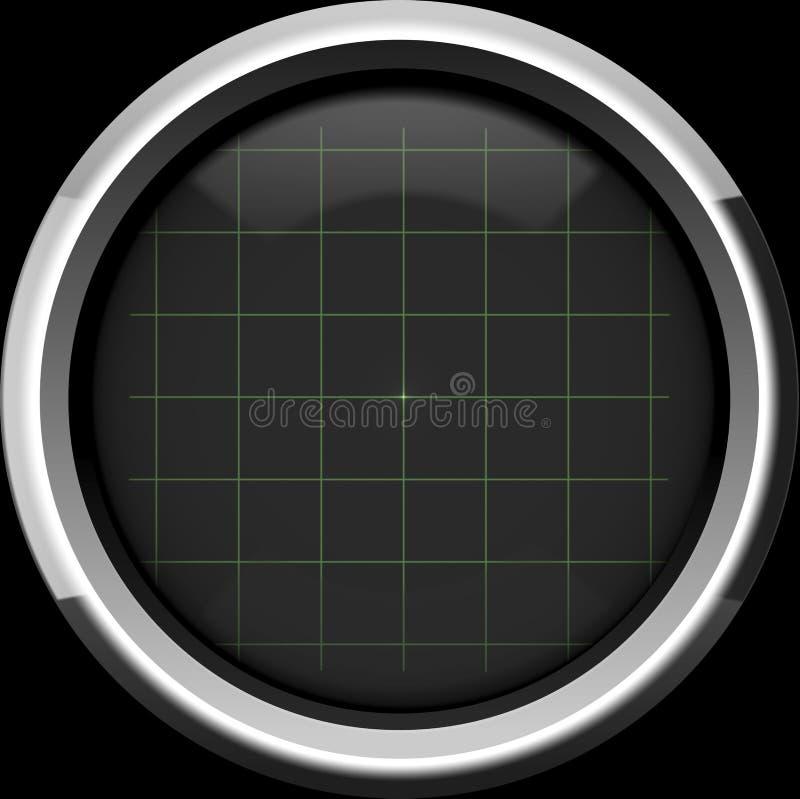 示波器的黑屏有栅格的在绿色 库存例证