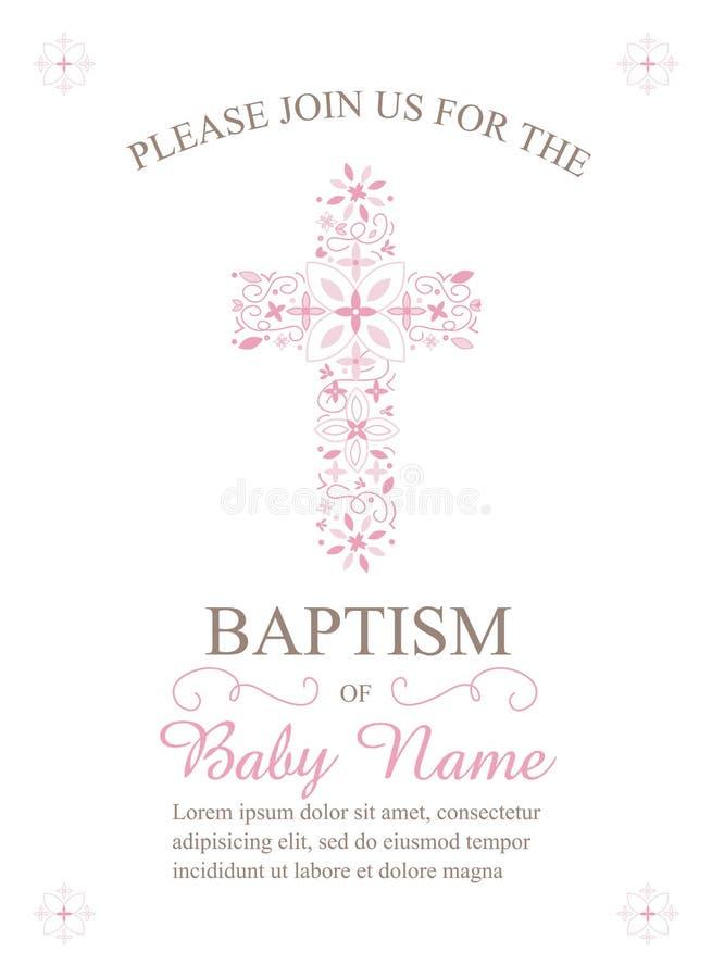 洗礼、洗礼仪式、圣餐或者确认邀请模板-传染媒介 向量例证