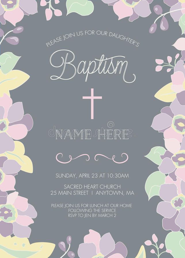 洗礼、洗礼仪式、第一个圣餐或者确认邀请模板 向量例证