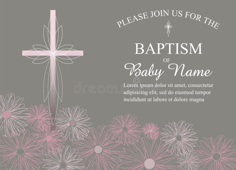 洗礼、洗礼仪式、第一块圣餐邀请模板与花和跨的传染媒介 皇族释放例证