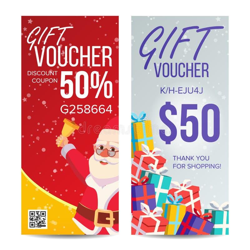 礼券传染媒介 垂直的优惠券 快活的圣诞节 新年好 克劳斯礼品圣诞老人 购物广告 皇族释放例证