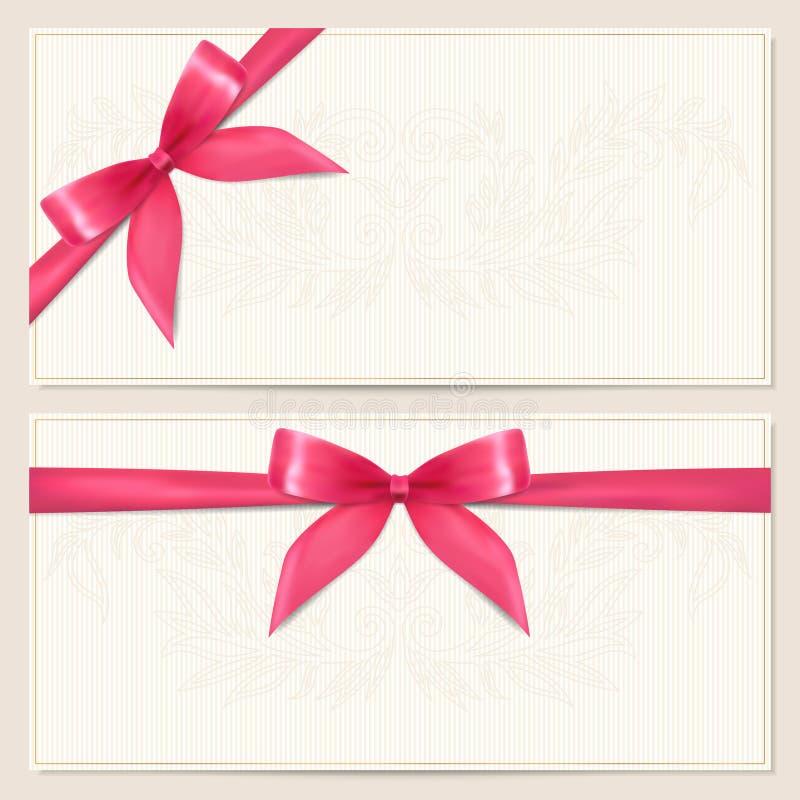礼品凭证/与弓(丝带)的赠券模板 皇族释放例证