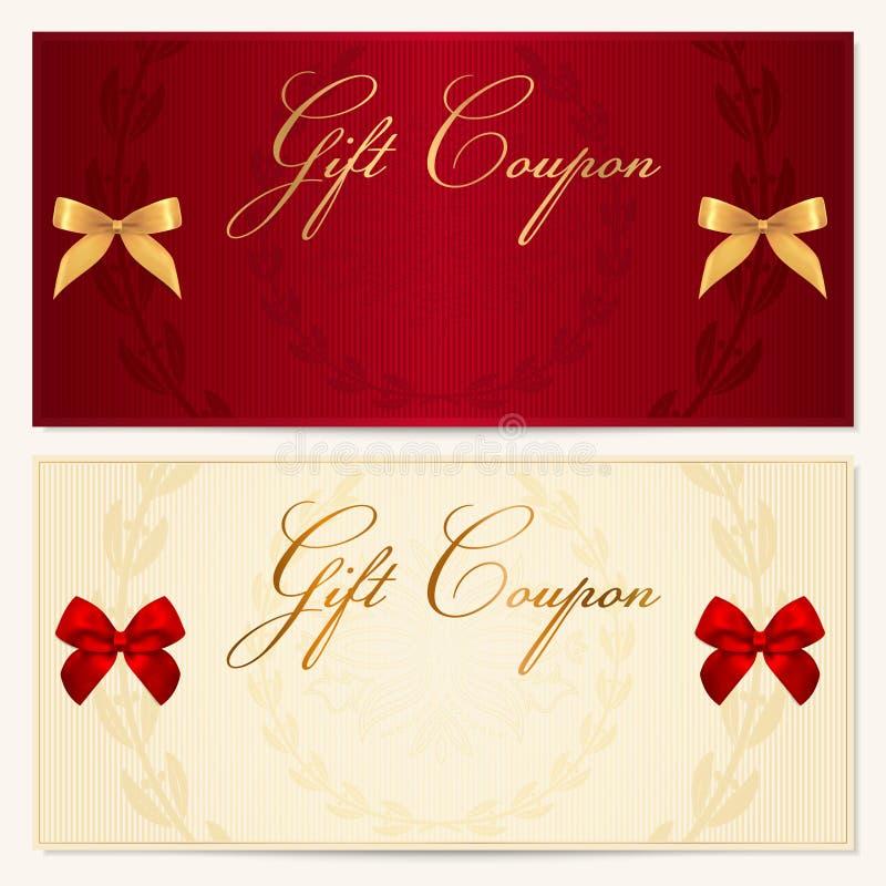 礼品凭证/赠券模板。 弓(丝带) 向量例证