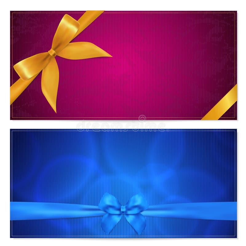 礼品凭证/赠券模板。 弓(丝带) 库存例证