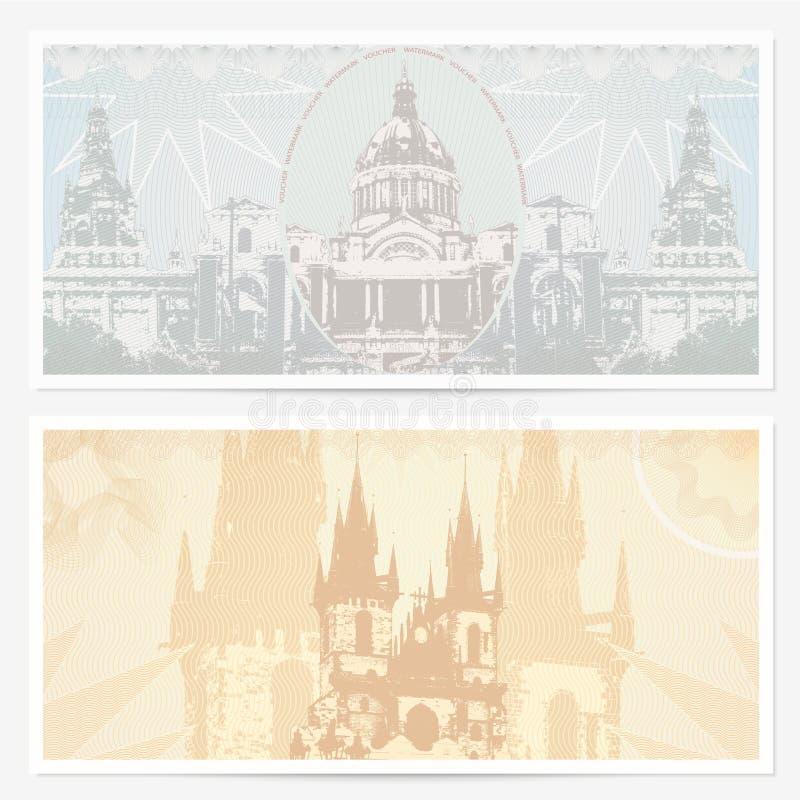 礼品凭证(赠券)模板,名胜地 皇族释放例证
