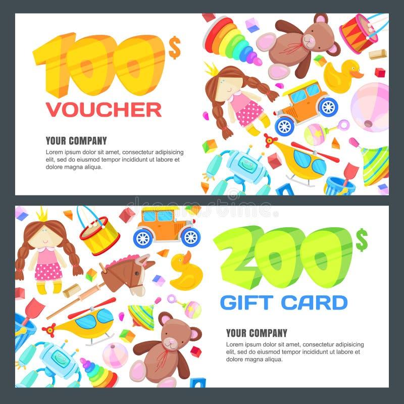 礼品券、证件、证明或者优惠券传染媒介设计版面 折扣孩子玩具店的横幅模板 向量例证