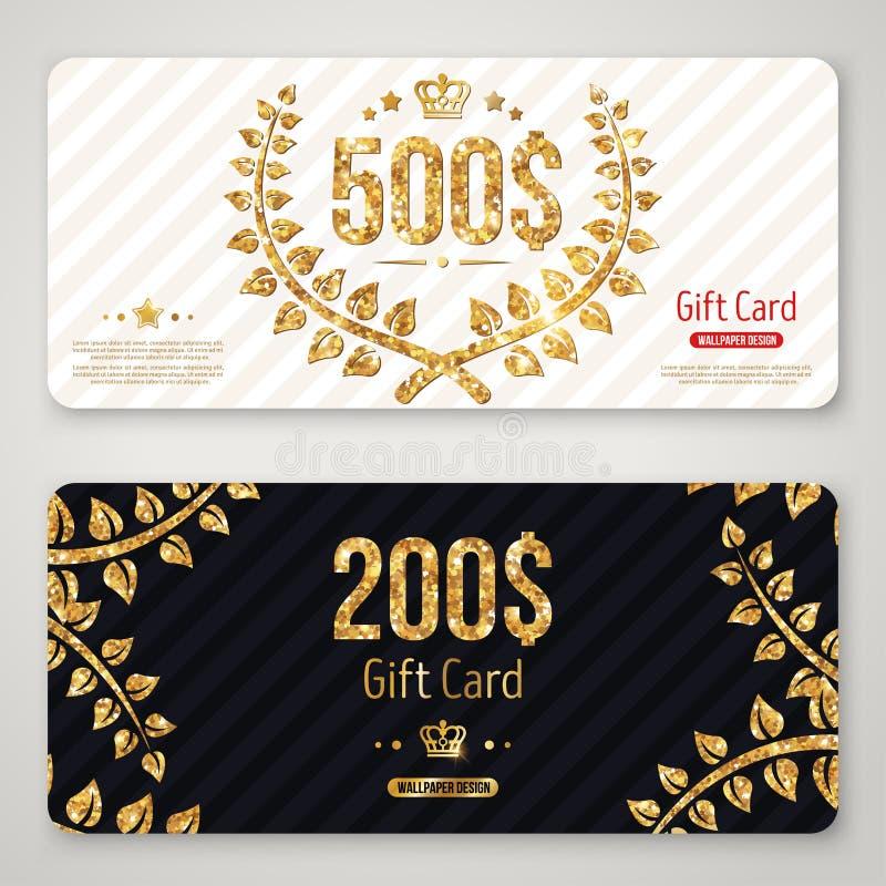 礼品券与金月桂树花圈的布局模板 皇族释放例证