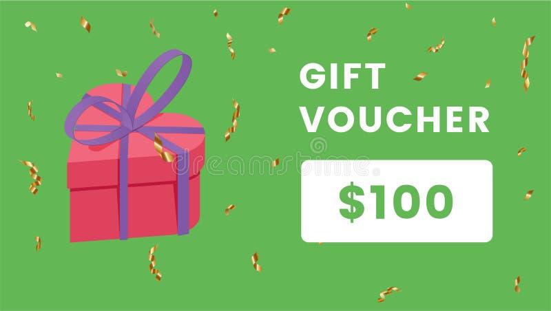 礼品券卡矢量颜色模板 Holiday certificate, Birthday coupon with isometric gift box on green 向量例证