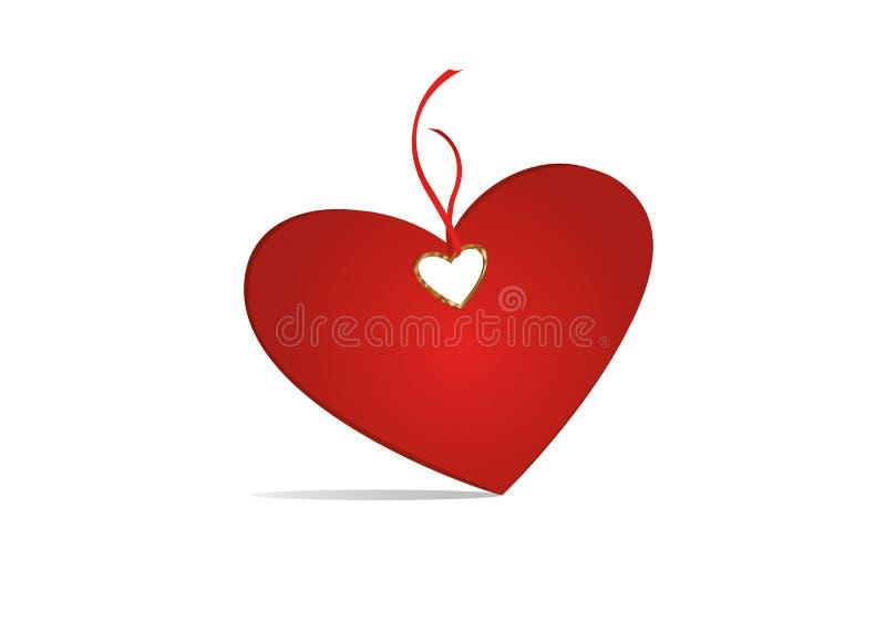 礼品券栓与红色心脏 向量 日s华伦泰 背景查出的白色 向量例证