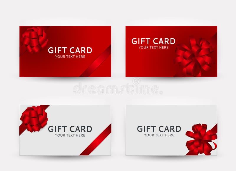 礼品券模板与弓和丝带传染媒介例证的汇集集合 库存例证
