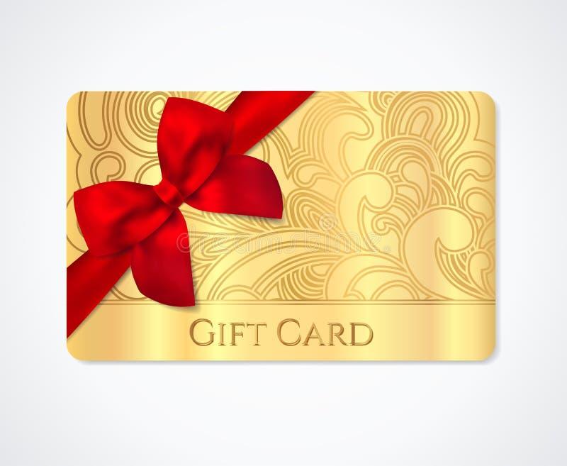礼品券,礼物优惠券金子与弓丝带的折扣卡片 向量例证