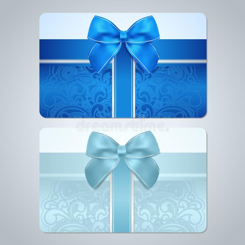 礼品券/折扣卡片。纸卷样式,弓 皇族释放例证