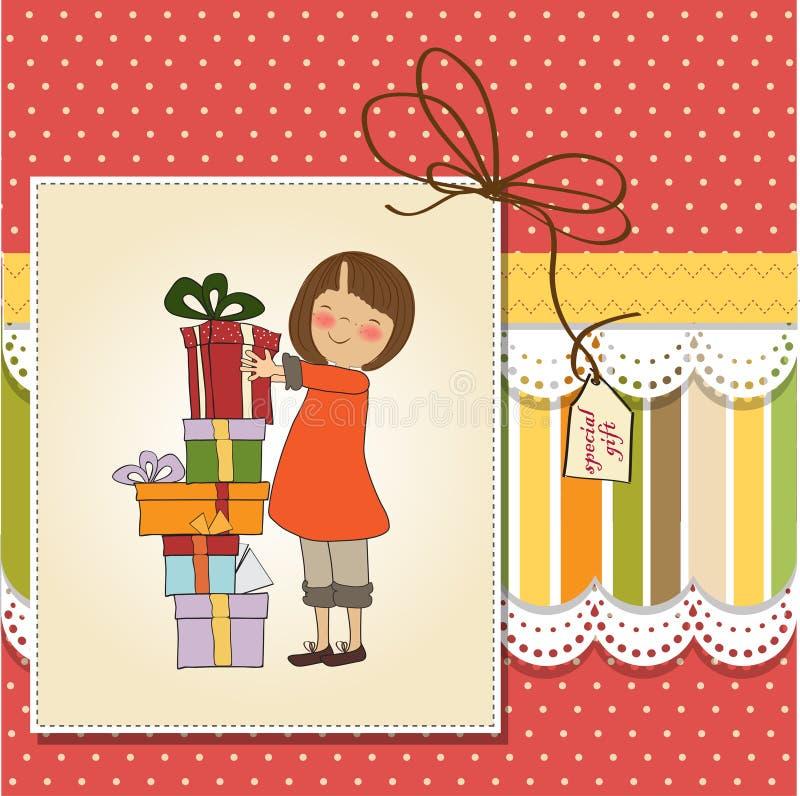 Download 礼品女孩年轻人 库存例证. 插画 包括有 喜悦, beauvoir, 动画片, 腋窝, 框架, 礼品, 婴儿 - 22350824