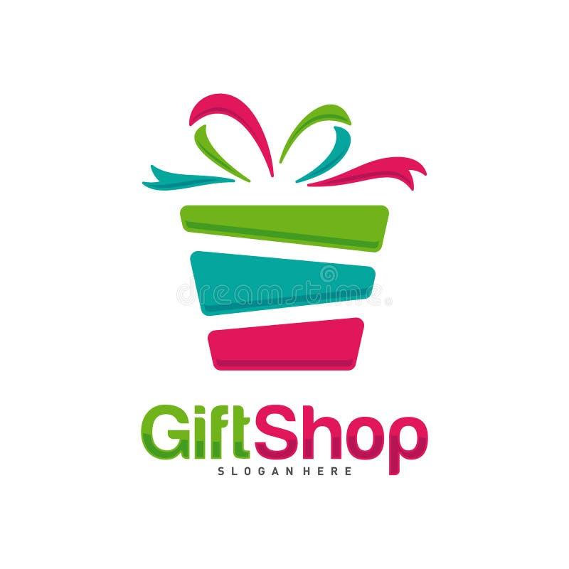 礼品店徽标设计概念向量、模板、彩色、徽标、设计概念、创意符号、图标 免版税图库摄影
