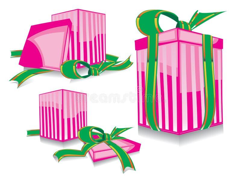 礼品粉红色集 向量例证