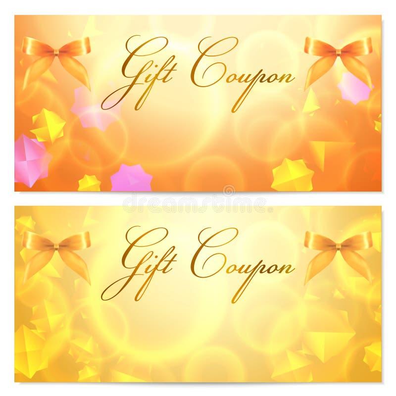 礼品赠券/看板卡模板(星形、弓,丝带) 向量例证