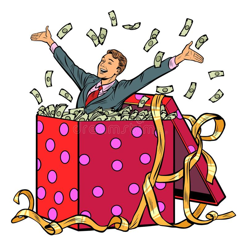 礼品 与金钱的商人 皇族释放例证