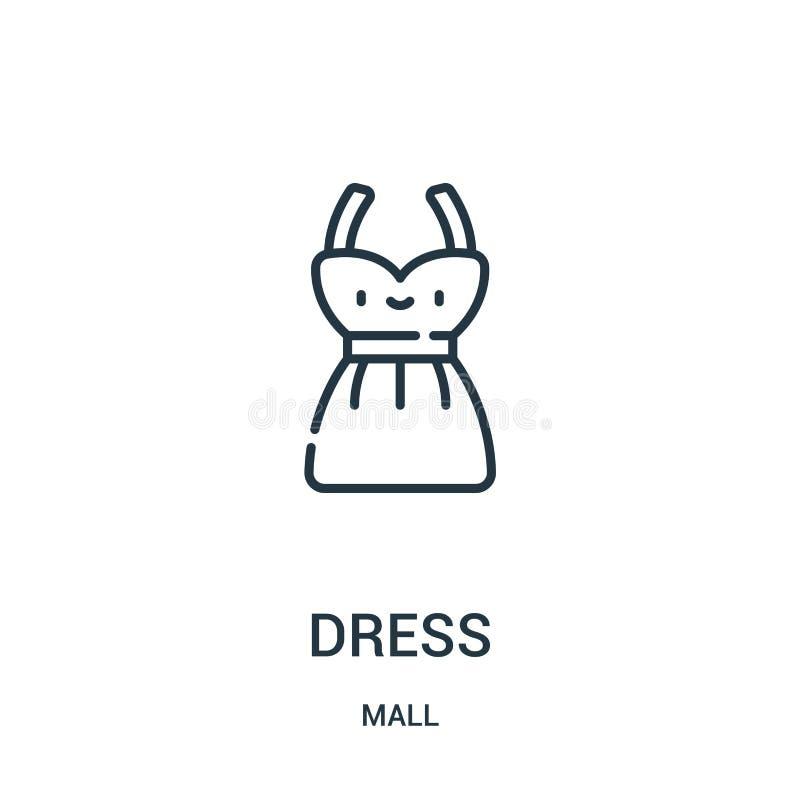 礼服从购物中心汇集的象传染媒介 稀薄的线礼服概述象传染媒介例证 线性标志为在网和机动性的使用 皇族释放例证