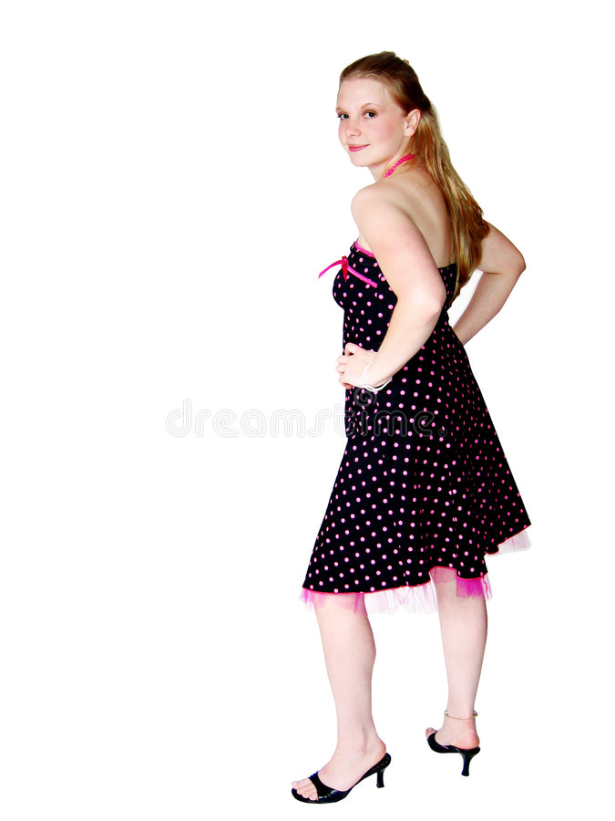 礼服俏丽的妇女年轻人 免版税库存图片