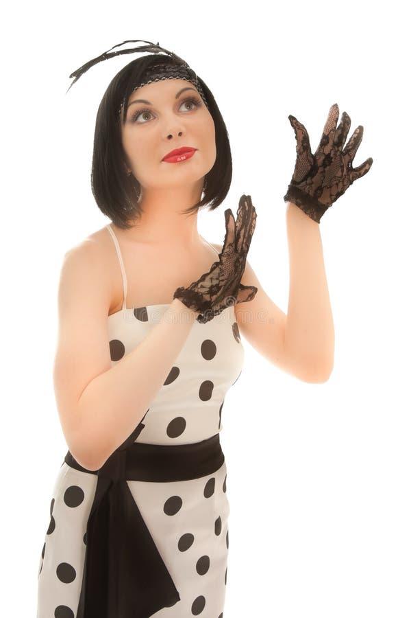 礼服减速火箭的被称呼的妇女 免版税图库摄影