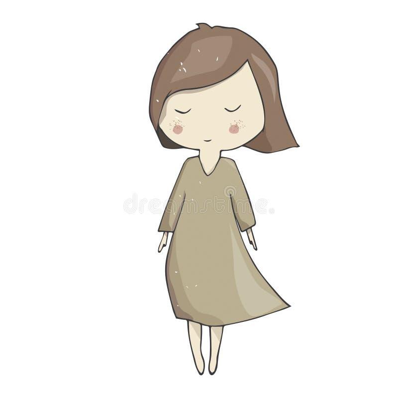 礼服剪贴美术字符例证颜色充分的女孩的女孩礼服时尚面孔睡眠微笑褐色头发妇女女性几何的 向量例证