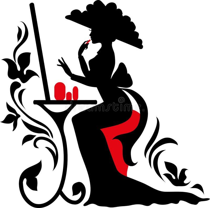 礼服和大帽子的典雅的美丽的妇女有镜子的 库存例证