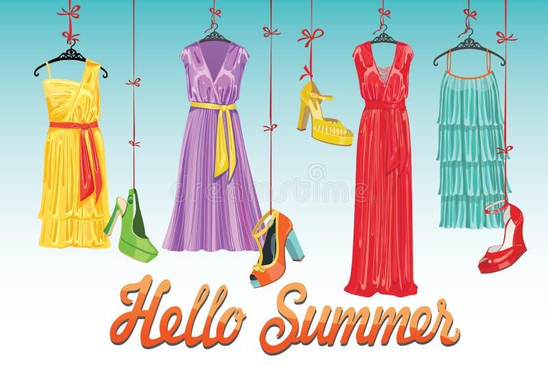 礼服和鞋子 你好夏天! 时尚Illustrtion 库存例证