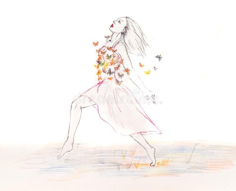 礼服奔跑的妇女横跨充分领域的蝴蝶 背景图画铅笔结构树白色 图库摄影